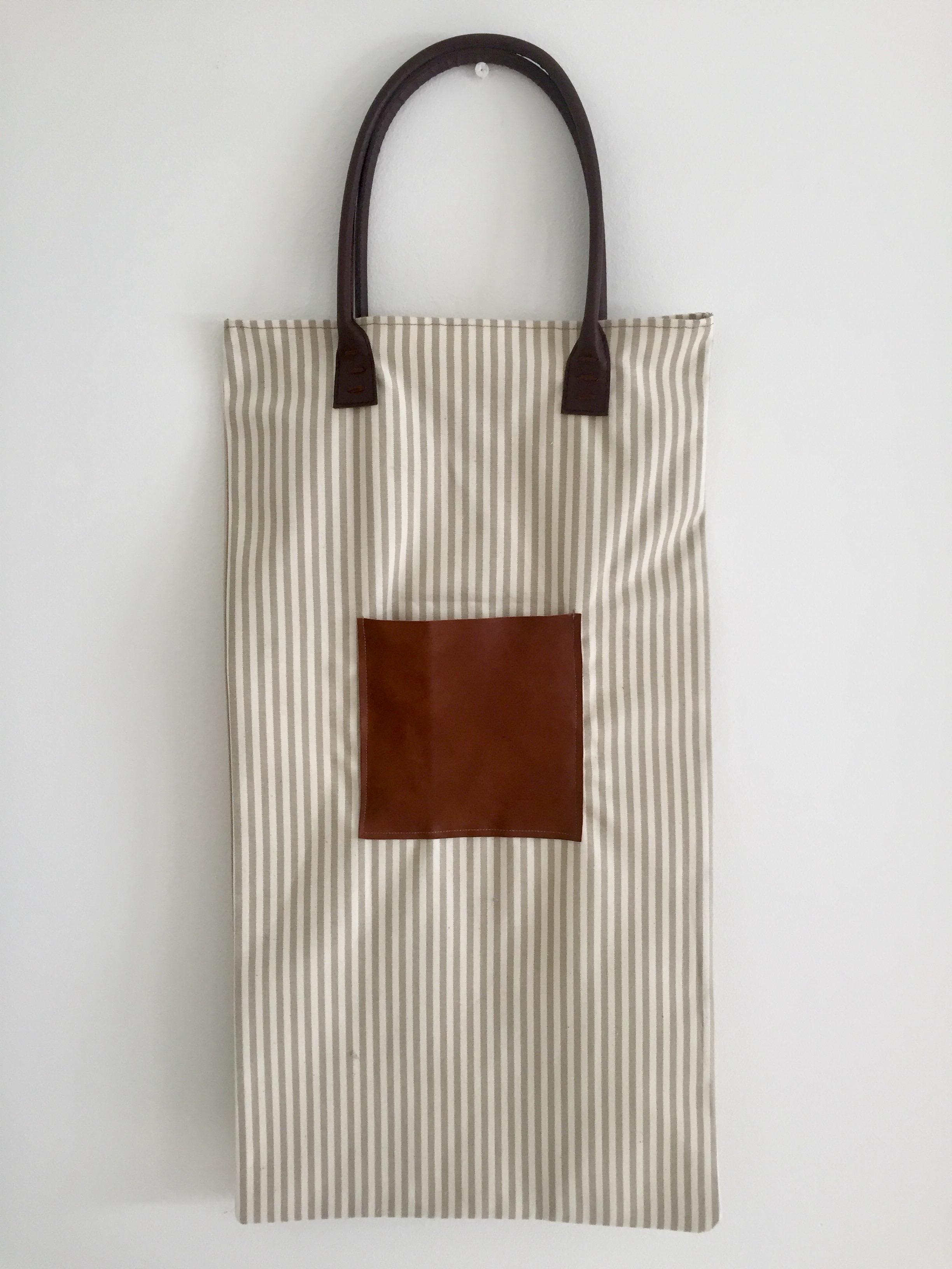 63c27541a sac à pain rayé anse chocolat